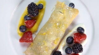 Michael Symon\'s Lemon Curd and Berry Crepes