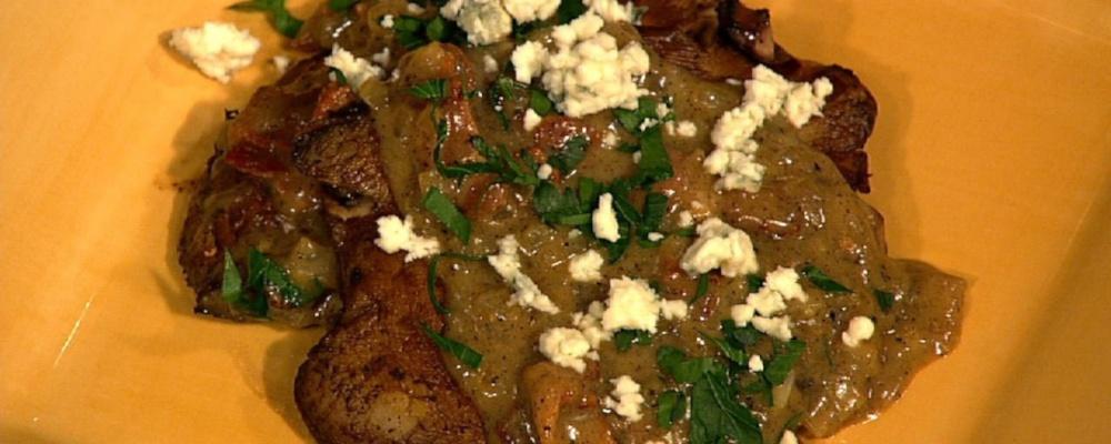Michael Symon\'s Pan Seared Portobello Mushrooms with Bacon and Blue Cheese