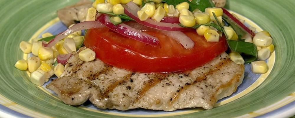 Michael Symon\'s Pork Paillard with Beefsteak Tomato Salad