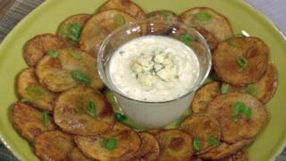 Michael Symon\'s Potato Nachos with Blue Cheese Fondue