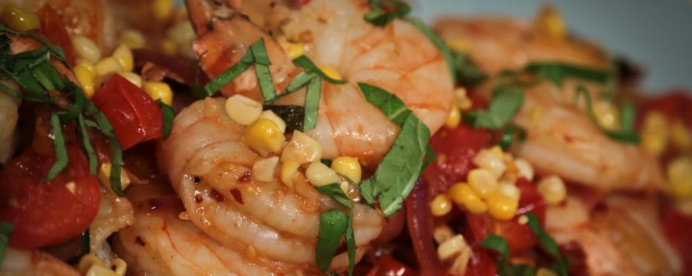 Michael Symon\'s Shrimp with Corn and Basil