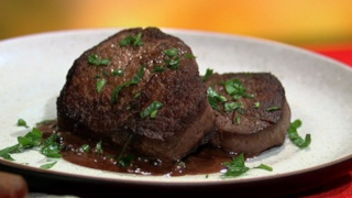 Michael Symon\'s Steak with Peppercorn Sauce