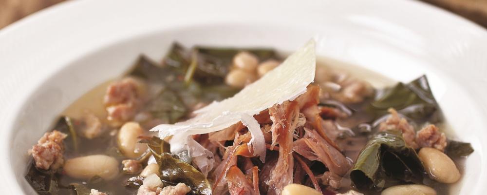 Michael Symon\'s White Bean and Collard Greens Soup
