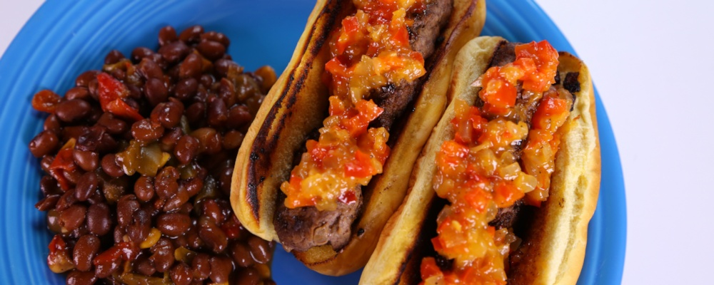Ming Tsai\'s Onion-Burger \'Hot Dogs\' with Sweet Chile Relish