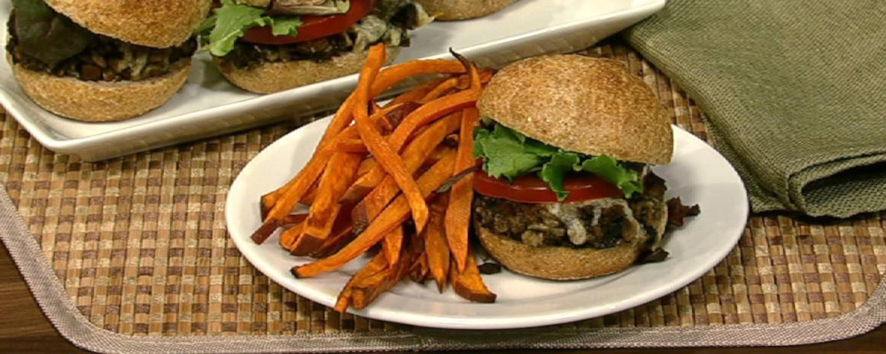 Mushroom Sliders with Sweet Potato Oven Fries