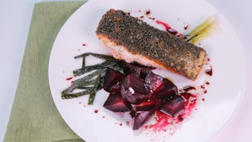 Mustard-Crusted Salmon with Roasted Beets and Scallions
