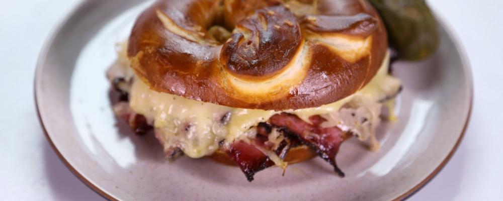 Pastrami Pretzel Sandwich