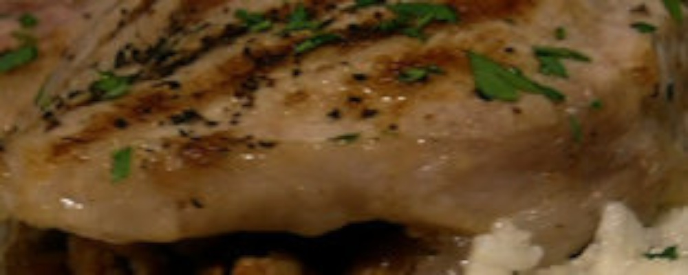 Paula Deen\'s Stuffed Pork Chops with Grits