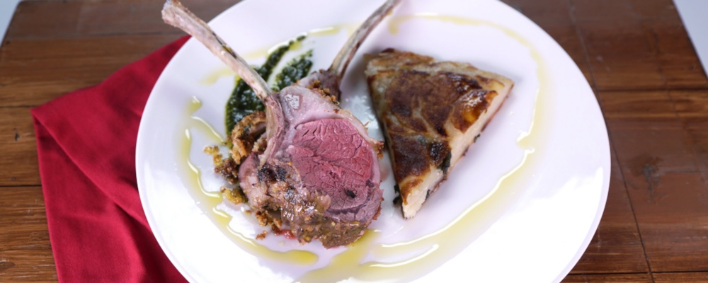 Rack of Lamb with Mint Pesto and Potato Galette Recipe by Mario Batali ...