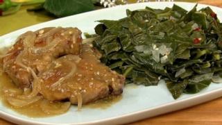 Recina Gilbert\'s Smothered Pork Chops with Collard Greens