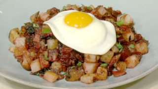 Red Flannel Hash with Fried Eggs