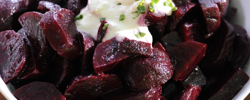 Roasted Beets with a little Spicy Horseradish Cream
