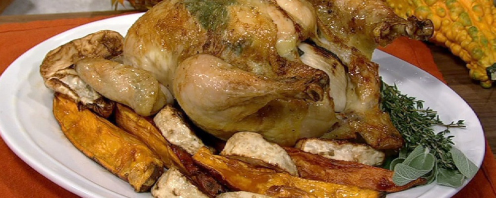 Roasted Chicken with Sweet Potatoes and Sage Recipe by Michael Symon ...