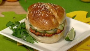 Salmon Burgers with Pickled Cucumbers