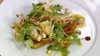 Savory French Toast with Stone Fruit and Feta Salad