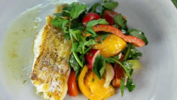 Seared Cod with Watercress Salad