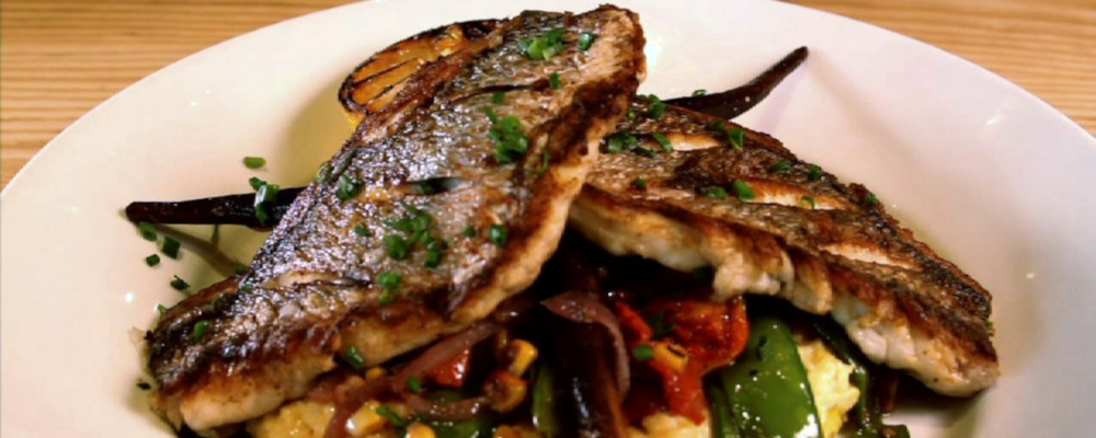 Seared Yellowtail Snapper with Fresh Vegetables and Citrus Vinaigrette