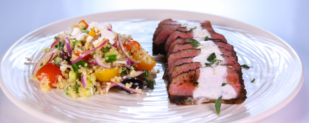 Spice Rubbed Lamb Tenderloin with Yogurt Sauce