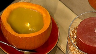 Spiced Pumpkin Soup with Curried Creme Fraiche
