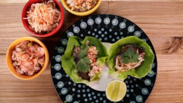 Spicy Lamb and Kimchi Lettuce Wraps