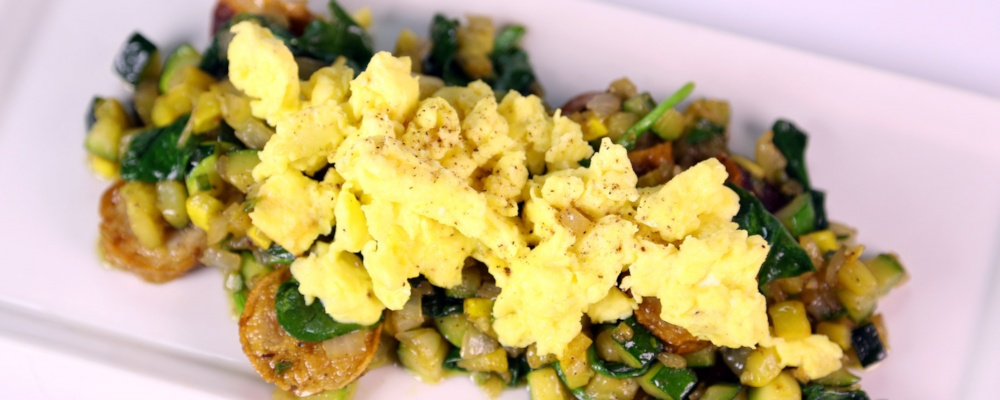 Spinach & Squash Hash with Egg Scramble