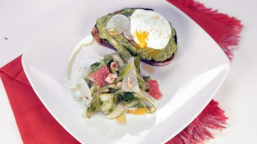 Spring Pea Crostini with Poached Eggs & Shaved Asparagus Salad