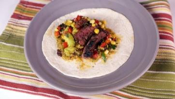Steak and Chorizo Tacos with Corn Relish and Charred Salsa