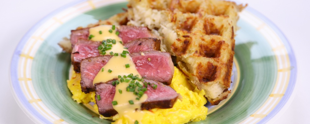Steak and Eggs with Hash Brown Waffles Recipe by Clinton Kelly - The ...