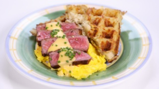 Steak and Eggs with Hash Brown Waffles