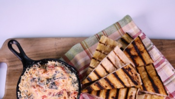 Swiss Chard Ricotta Dip with Grilled Pizza Dippers