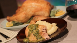 The Chew\'s Roast Chicken with Salsa Verde and Creamy Potatoes