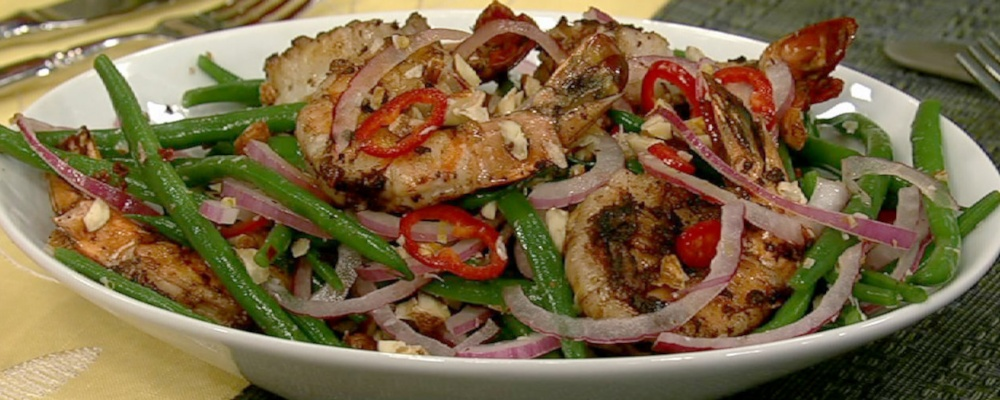 Warm Shrimp Salad with Green Beans and Chilies