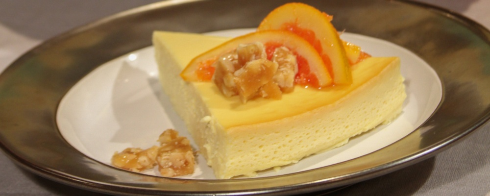 Yogurt Cheesecake with Pine Nut Brittle and Blood Orange Marmalade