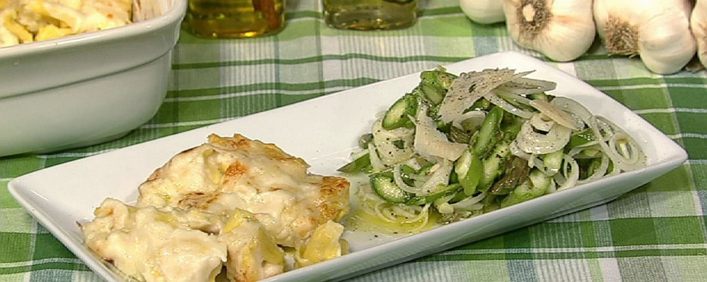 Baked Tortellini with Spring Onions and Asparagus
