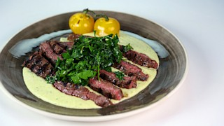 Chili Rubbed Skirt Steak with Salsa Verde, White Beans, and Lemon