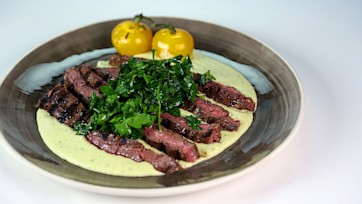 Chili Rubbed Skirt Steak with Salsa Verde, White Beans, and Lemon