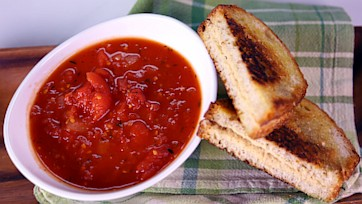 Tomato Soup & Grilled Hummus Sandwich