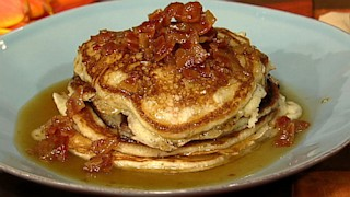 Bacon Pancakes with Maple Bourbon Butter Sauce