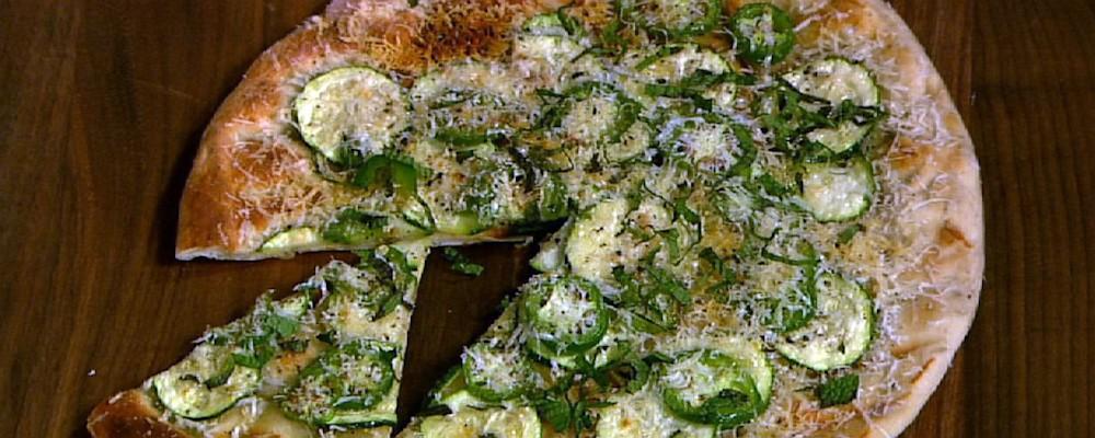 Mario Batali\'s Grilled Pizza with Shaved Zucchini Salad