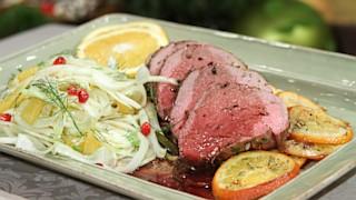 Beef Tenderloin with Pomegranate Fennel Salad