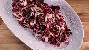 Apple Salad with Salami & Wine-Marinated Mushrooms