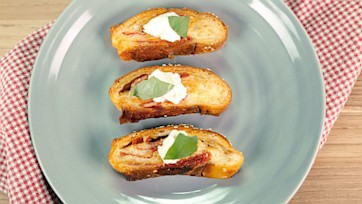 Toasted Pepperoni Bread with Burrata
