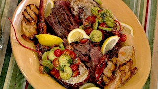 Mario Batali\'s Grilled Lobsters and Hangar Steak with Cucumber Salad