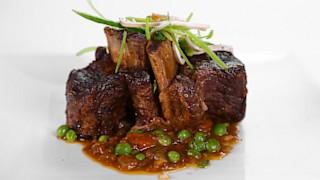 Mario Batali\'s Beer Braised Beef Short Ribs with Snow Pea Salad