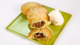 Fried Pecan Pie with Bourbon Cream