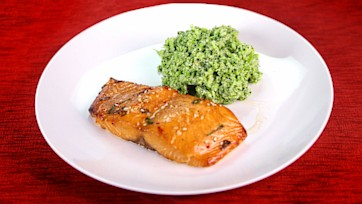 Baked Salmon with Honey, Sesame, Chili, & Teriyaki Marinade