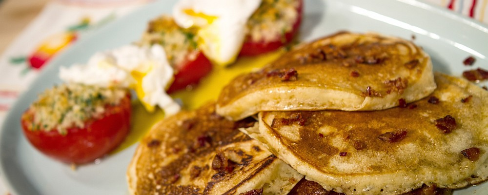 Bacon Pancakes with Baked Tomatoes