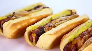 Bacon Fried Stuffed Hot Dogs