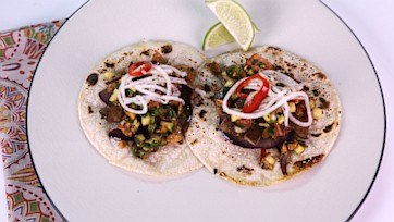 Beef Tacos with Spicy Almond Zucchini Pico