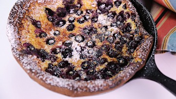 Blueberry Dutch Baby with Blood Orange Syrup